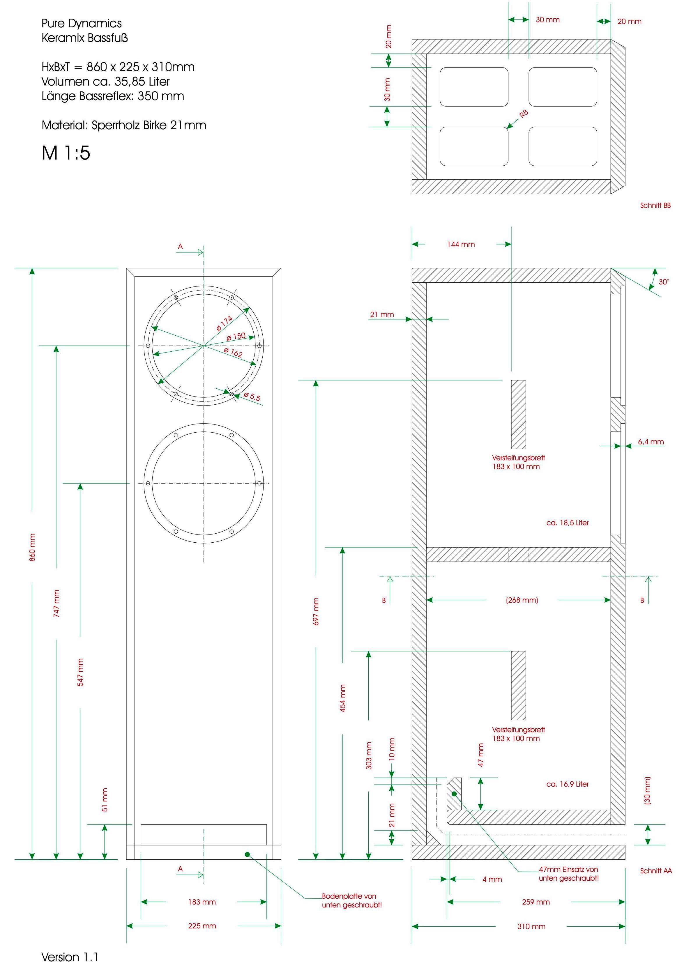 lautsprecherbau thomaier - pure dynamics keramix3 auf gehrung