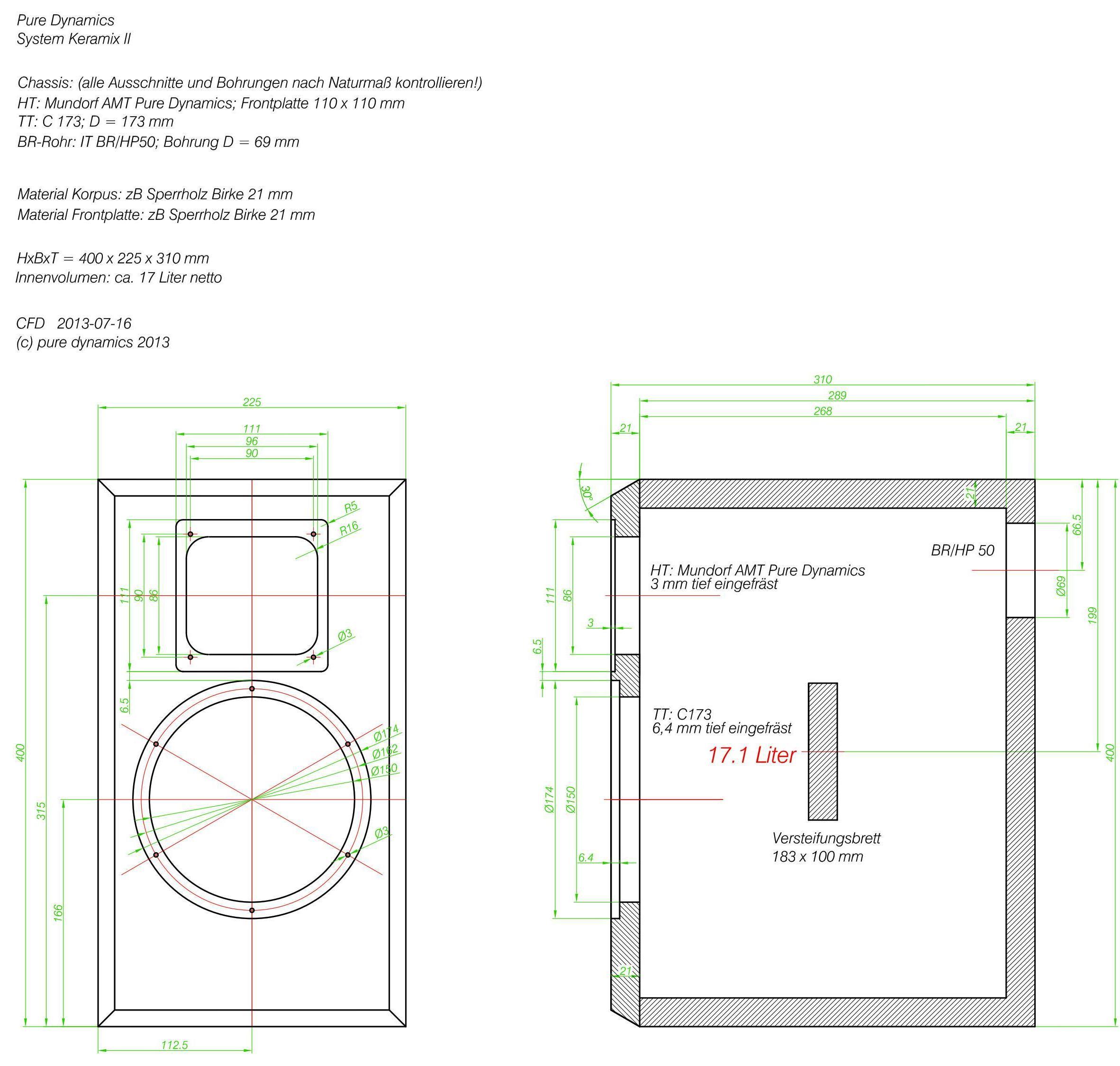lautsprecherbau thomaier - pure dynamics keramix ii auf gehrung